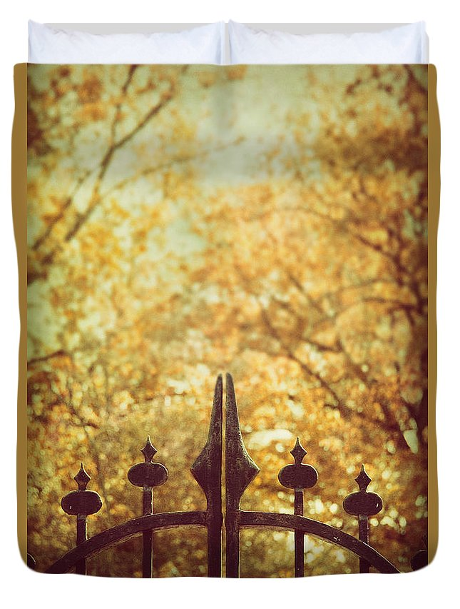 Old Duvet Cover featuring the photograph Autumn Gates by Margie Hurwich