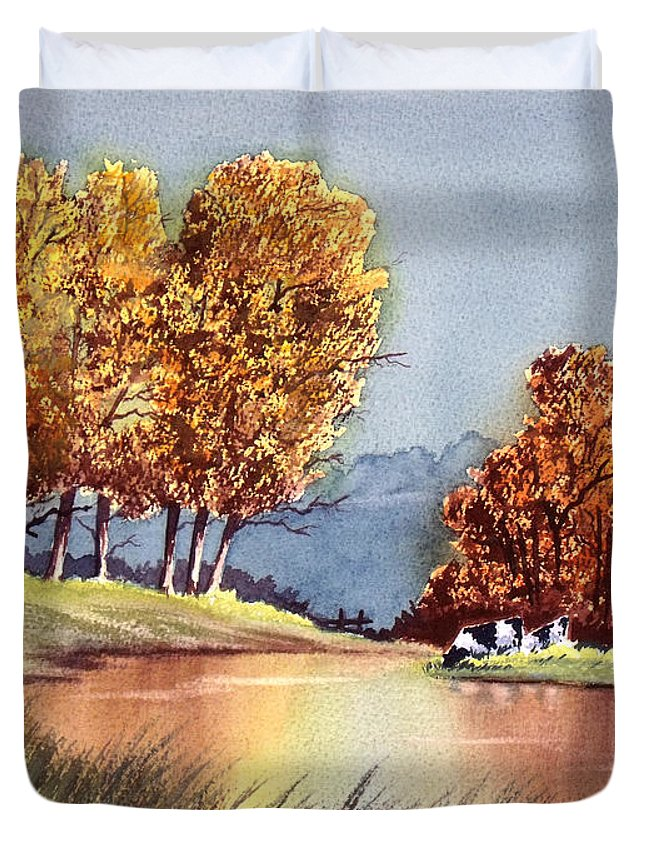 Bill Holkham Duvet Cover featuring the painting Autumn Golds by Bill Holkham