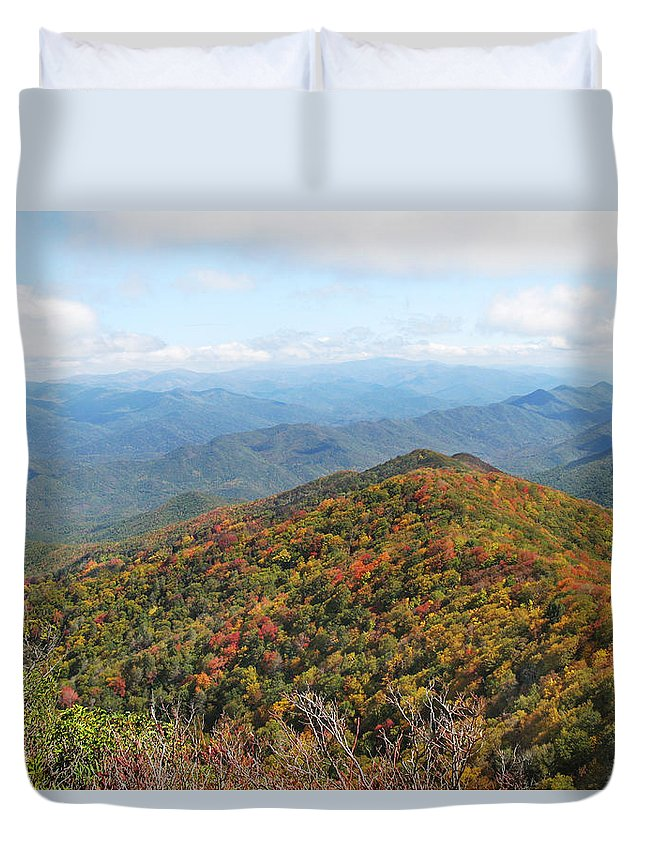 Great Smoky Mountains National Park Duvet Cover featuring the photograph Autumn Great Smoky Mountains by Melinda Fawver