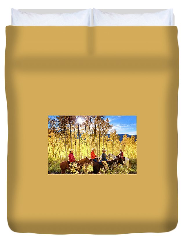 Horse Duvet Cover featuring the photograph Autumn Horseback Riding by Amygdala imagery