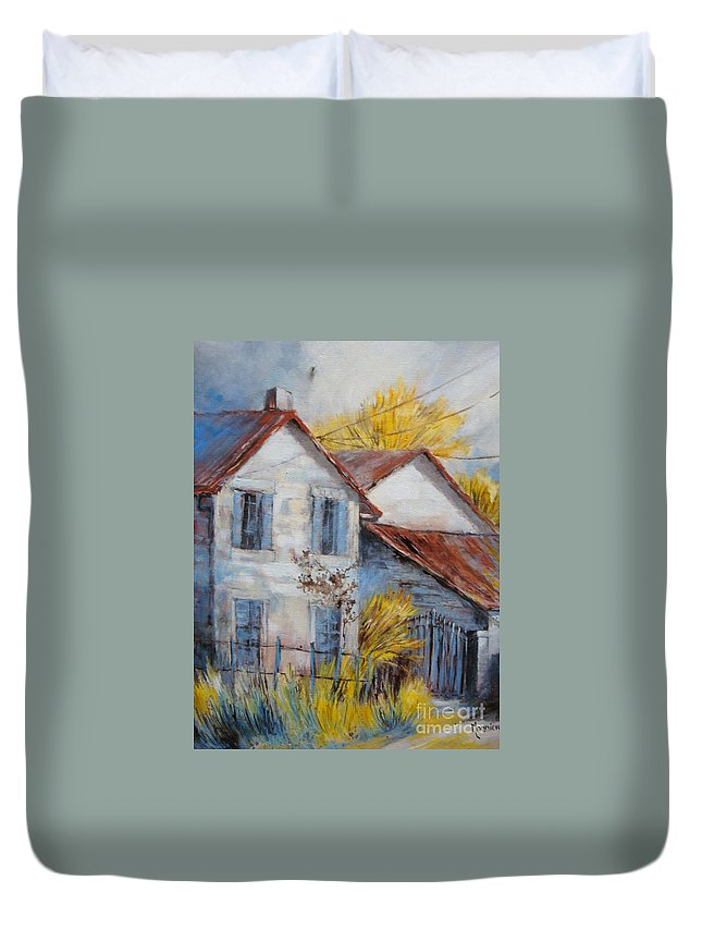 Landscape Duvet Cover featuring the painting Autumn In La Garde by Cathy MONNIER