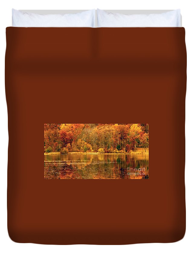 Water Duvet Cover featuring the photograph Autumn In Mirror Lake by Paul W Faust - Impressions of Light