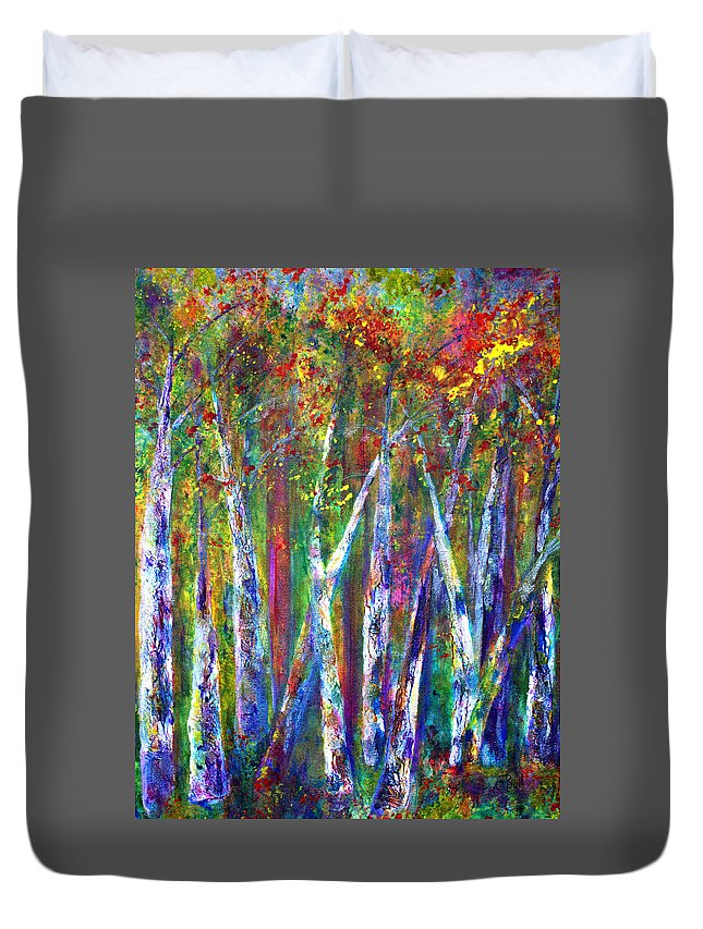 Claire Bull Duvet Cover featuring the painting Autumn In Muskoka by Claire Bull