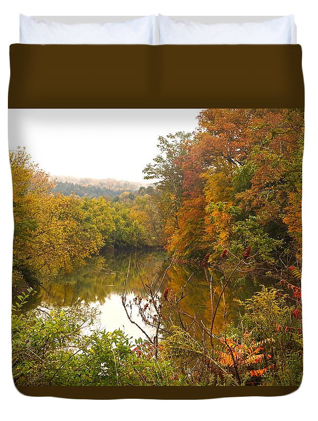 Autumn Scenic With River Duvet Cover featuring the photograph Autumn In The Butternut Valley-five by Byron Varvarigos