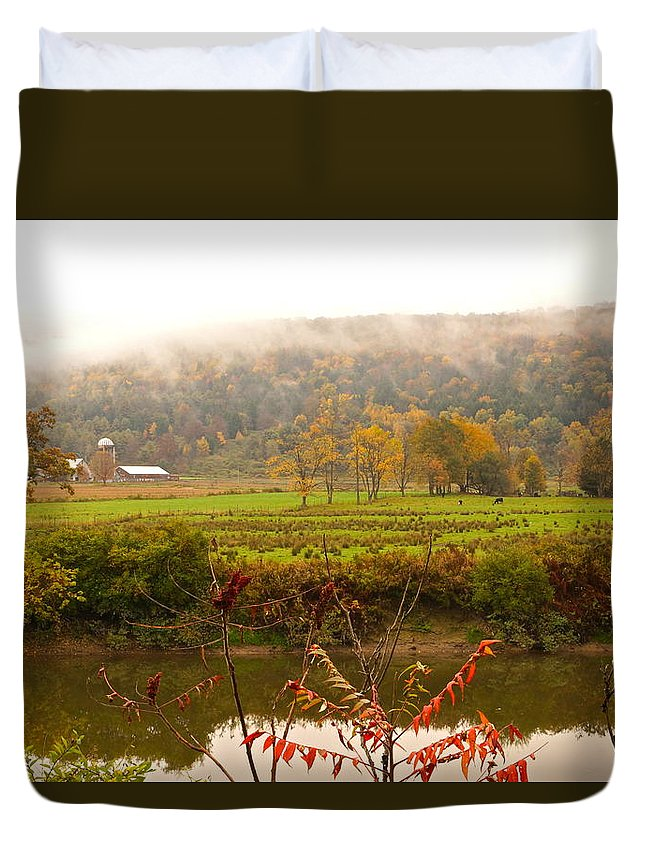 Autumn Pastoral Landscape Duvet Cover featuring the photograph Autumn In The Butternut Valley-six by Byron Varvarigos