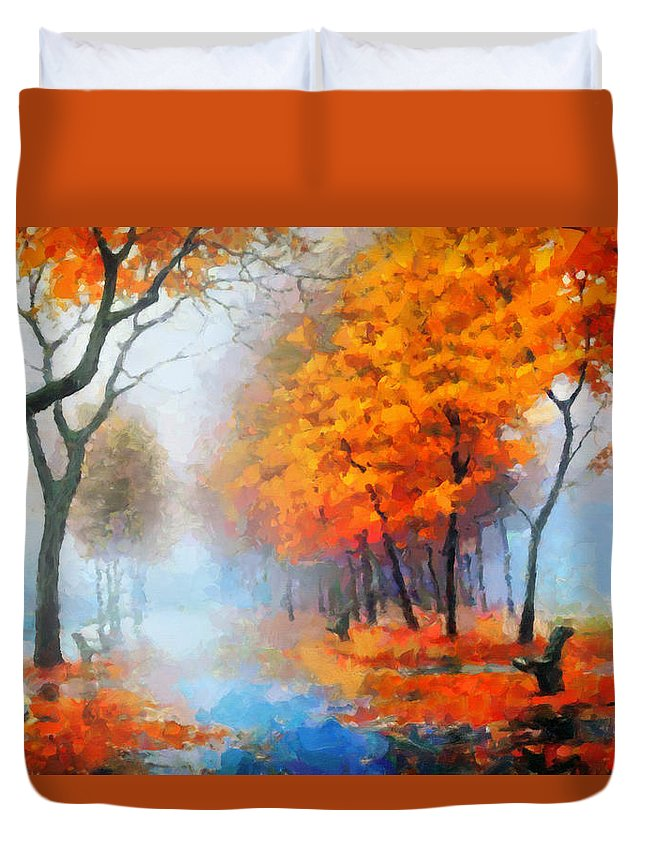 Abstract Expressionism Duvet Cover featuring the digital art Autumn In The Morning Mist by Georgiana Romanovna