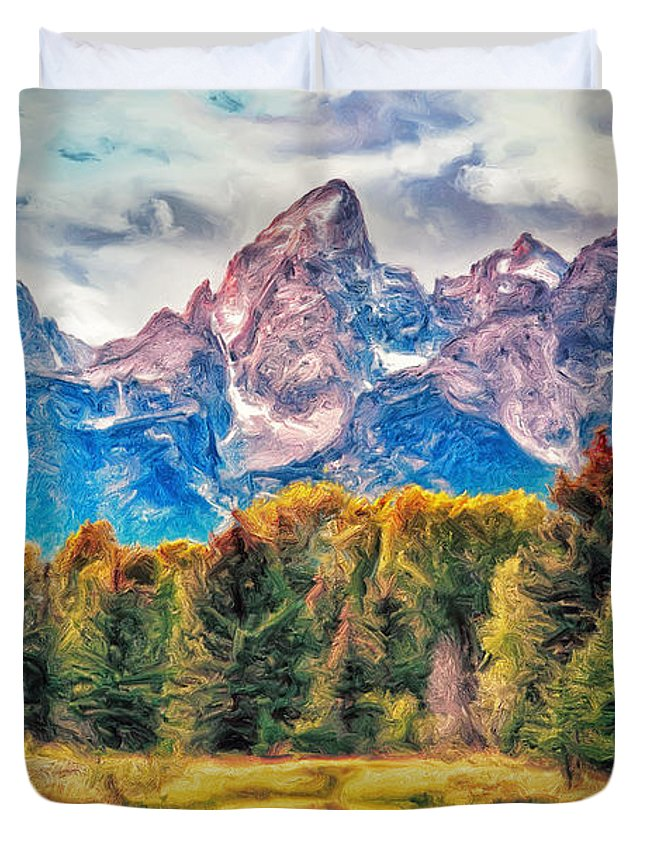 Autumn Duvet Cover featuring the painting Autumn In The Tetons by Dominic Piperata