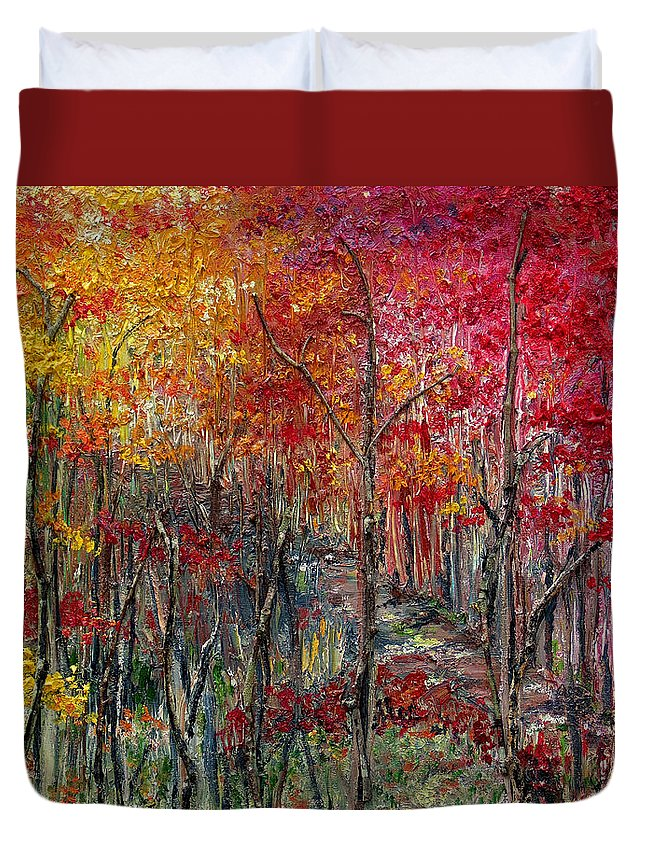 Autumn Duvet Cover featuring the painting Autumn In The Woods by Karin Dawn Kelshall- Best