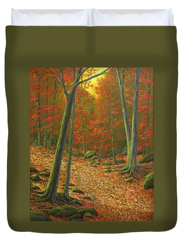 Autumn Leaf Litter Duvet Cover featuring the painting Autumn Leaf Litter by Frank Wilson