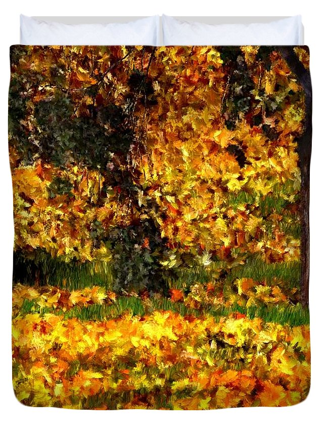 Bruce Duvet Cover featuring the painting Autumn Leaves by Bruce Nutting