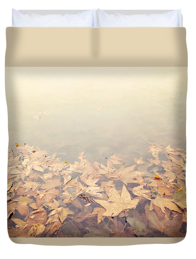 Autumn Duvet Cover featuring the photograph Autumn Leaves Floating In The Fog by Angela Stanton