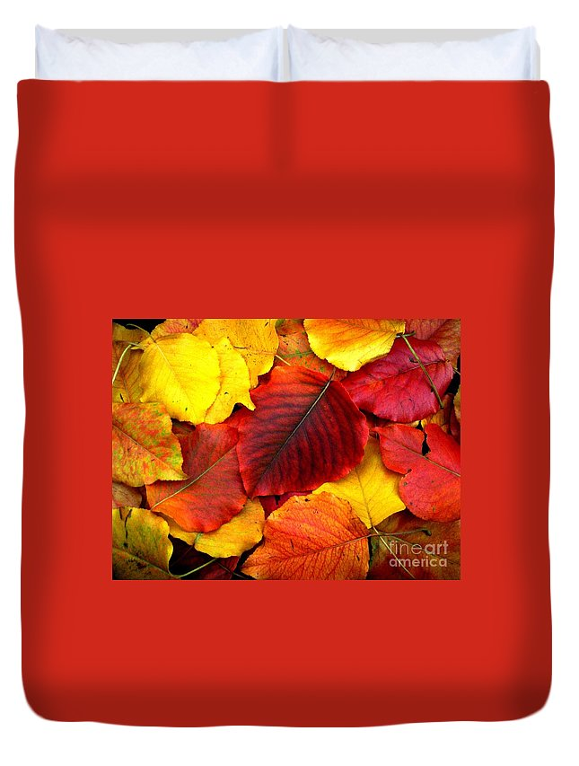 Colors Duvet Cover featuring the photograph Autumn Leaves by Sharon Woerner