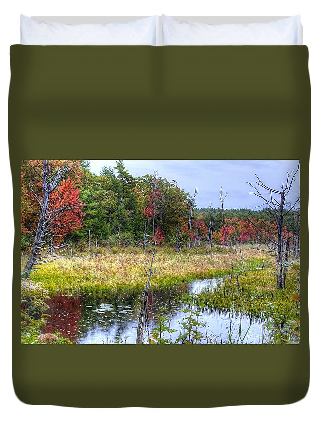 Autumn Duvet Cover featuring the photograph Autumn Marsh by Donna Doherty