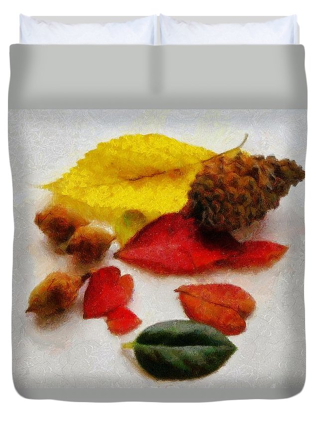 Acorn Duvet Cover featuring the painting Autumn Medley by Jeffrey Kolker