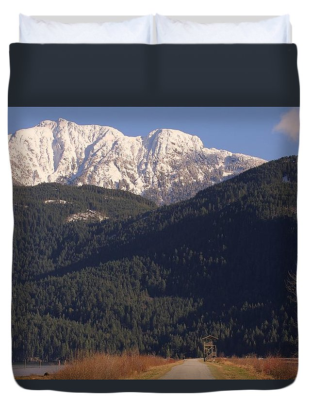 Mountain Duvet Cover featuring the photograph Autumn Snowcapped Mountain - Golden Ears - British Columbia by Ian Mcadie