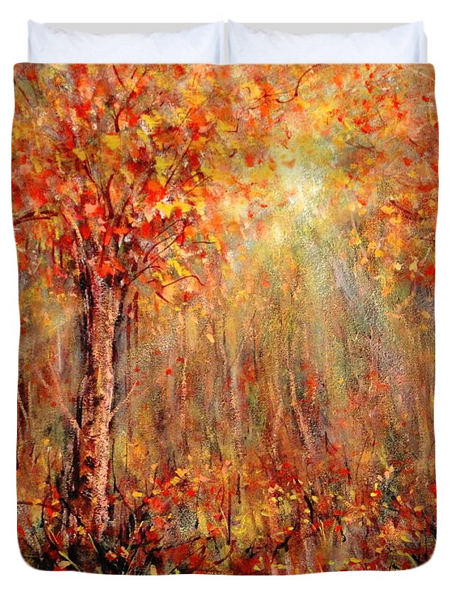 Landscape Duvet Cover featuring the painting Autumn by Natalie Holland