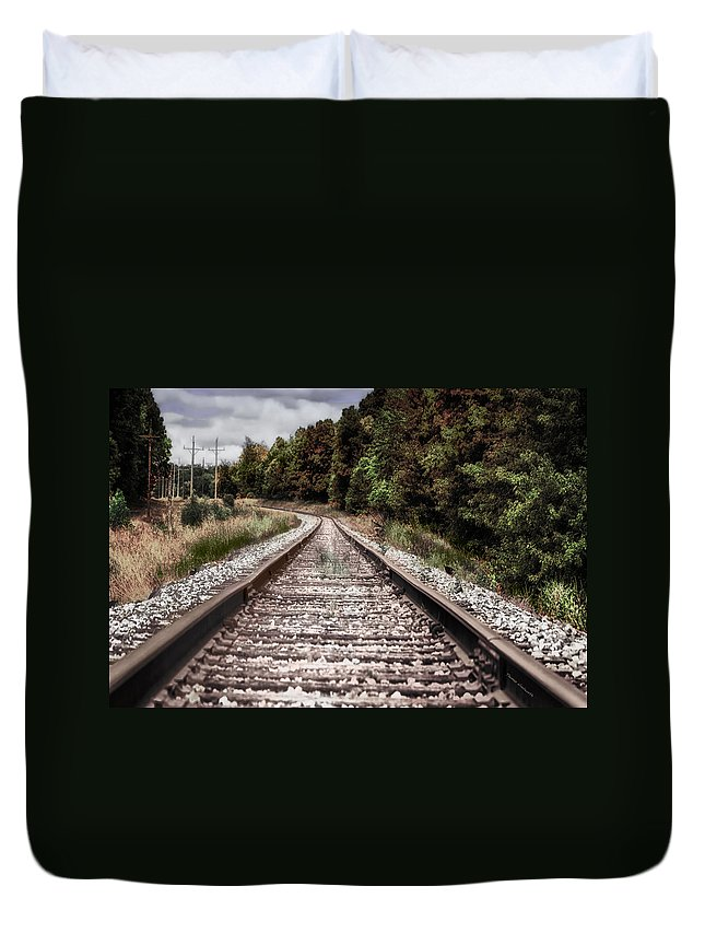 Railroad Duvet Cover featuring the photograph Autumn On The Railroad Tracks by Thomas Woolworth