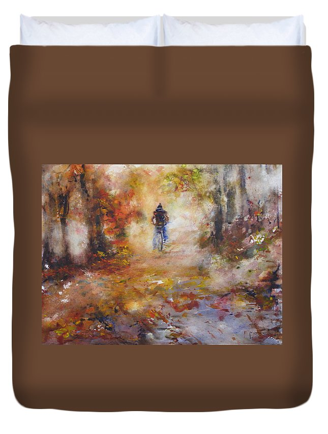 Watercolory Rose Sinatra Duvet Cover featuring the painting Autumn Path by Rose Sinatra