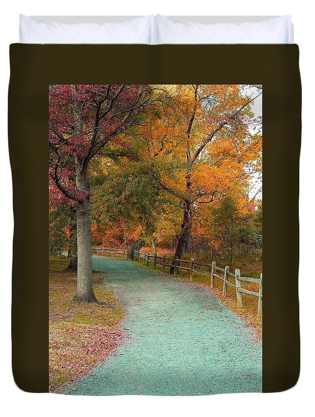 Great Duvet Cover featuring the photograph Autumn Path by Scott Fracasso