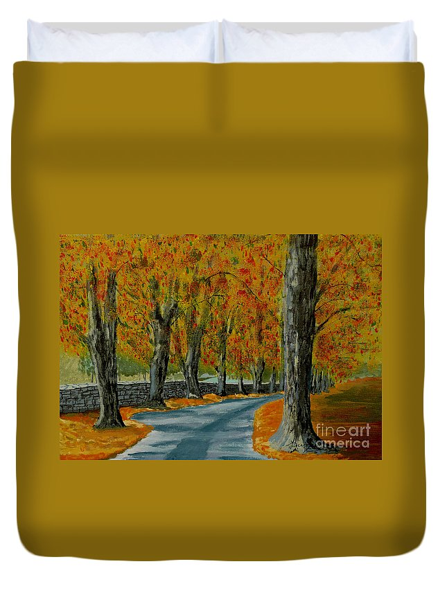 Autumn Duvet Cover featuring the painting Autumn Pathway by Anthony Dunphy