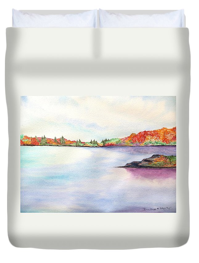 Fall Foliage Color Water Rock Cloud Sky Orange Red Green Blue Leaves Clm Pine Trees Crisp Duvet Cover featuring the painting Autumn Pond by Daniel Dubinsky