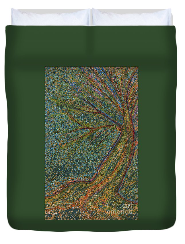 First Star Duvet Cover featuring the mixed media Autumn Rain Tree by First Star Art