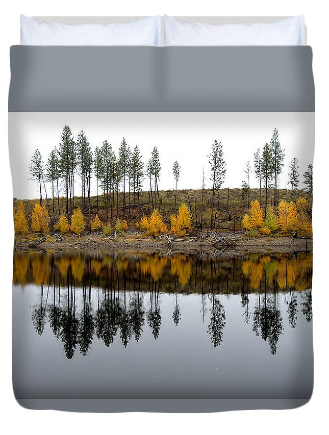 Reflections Duvet Cover featuring the photograph Autumn Reflection by Allan Van Gasbeck