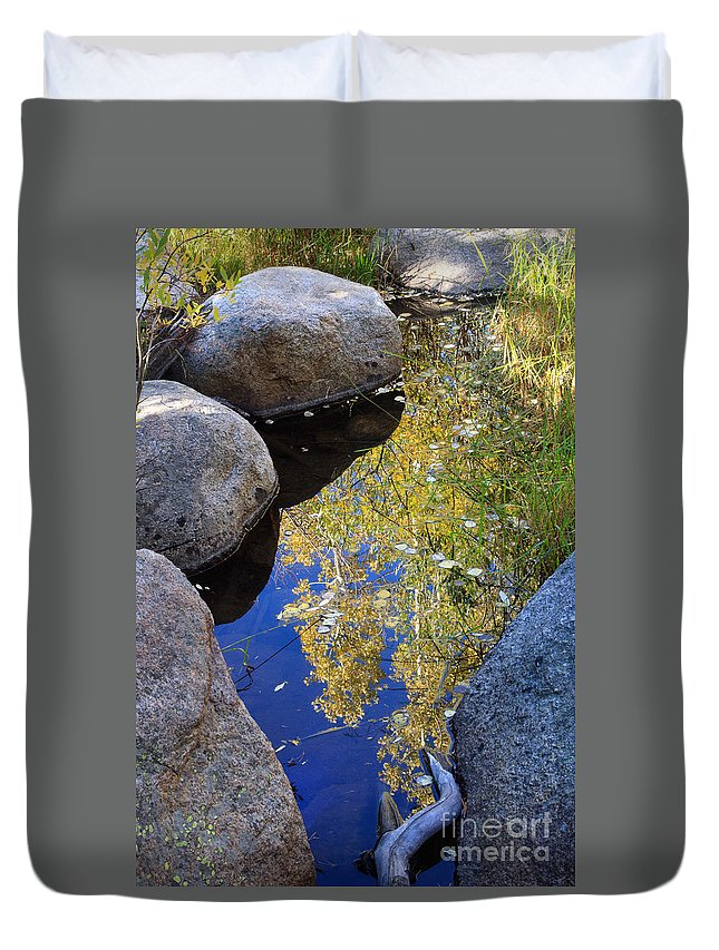 America Duvet Cover featuring the photograph Autumn Reflection by Karen Lee Ensley
