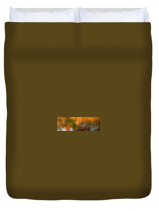 Fall Colors Duvet Cover featuring the photograph Autumn Reflections In Pond by Optical Playground By MP Ray