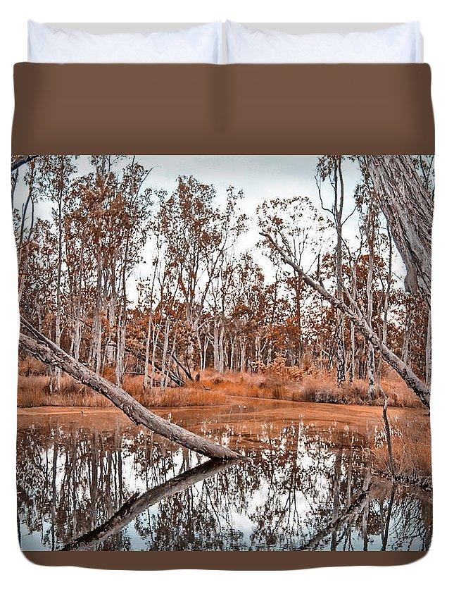 Autumn Duvet Cover featuring the photograph Autumn Reflections V2 by Douglas Barnard
