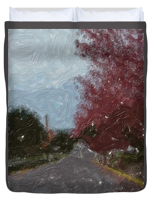 Autumn Duvet Cover featuring the painting Autumn Road by Sergey Bezhinets