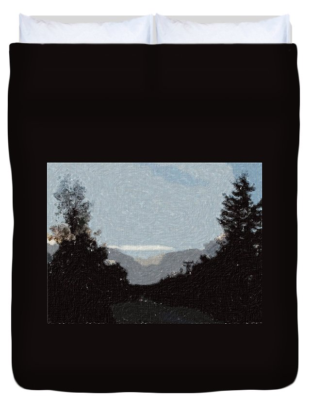 Autumn Duvet Cover featuring the painting Autumn Roads by Sergey Bezhinets