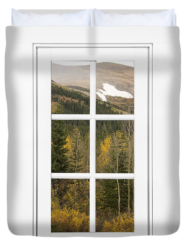 Windows Duvet Cover featuring the photograph Autumn Rocky Mountain Glacier View Through A White Window Frame by James BO Insogna