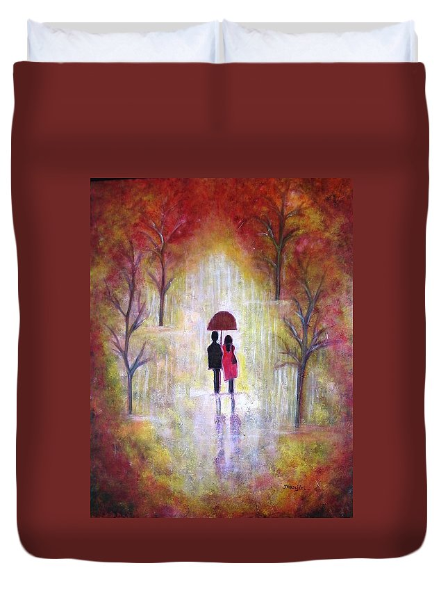 Romantic Painting Figures Romance Umbrella Red Orange People Abstract Trees Rain Yellow Women Duvet Cover featuring the painting Autumn Romance by Manjiri Kanvinde