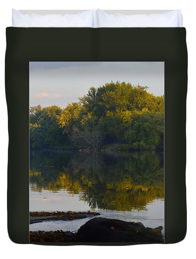 Environment Duvet Cover featuring the photograph Autumn Shell Rock Panel 2 by Bonfire Photography