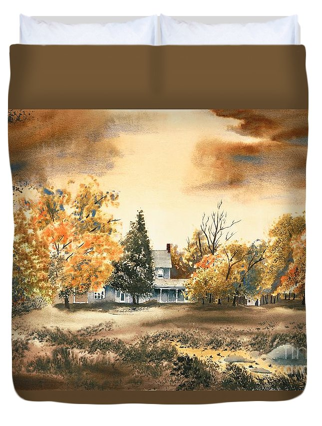 Autumn Sky No W103 Duvet Cover featuring the painting Autumn Sky No W103 by Kip DeVore