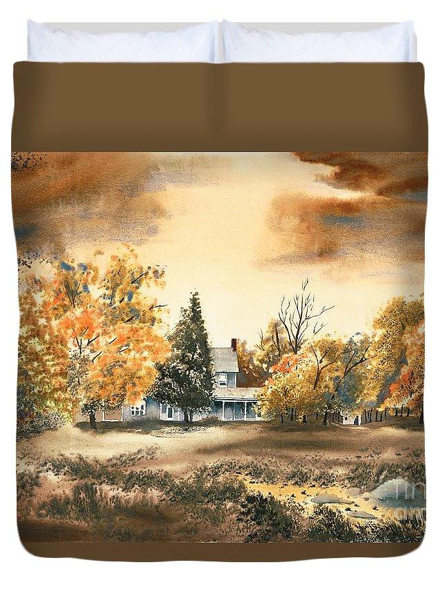 Autumn Sky No W103 Duvet Cover featuring the painting Autumn Sky No W103 by Kip DeVore