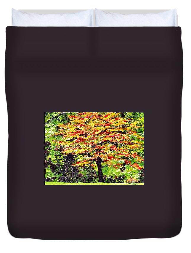 Fine Art Duvet Cover featuring the painting Autumn Splendor by Patricia Griffin Brett