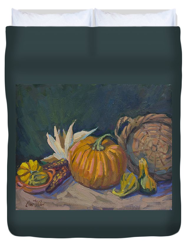 Still Life Duvet Cover featuring the painting Autumn Still Life by Diane McClary