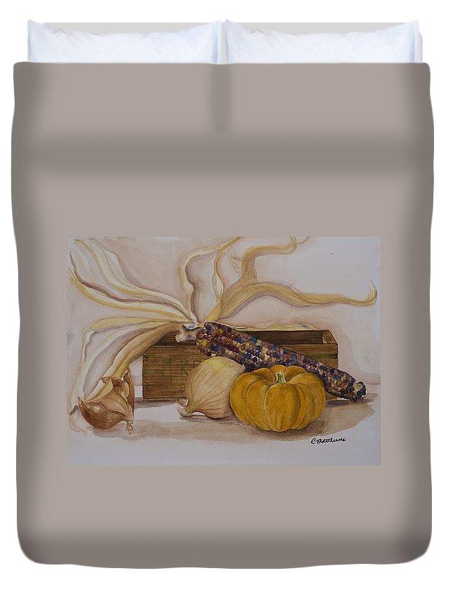 Fine Art Still Life Duvet Cover featuring the painting Autumn Still Life by Rebecca Matthews