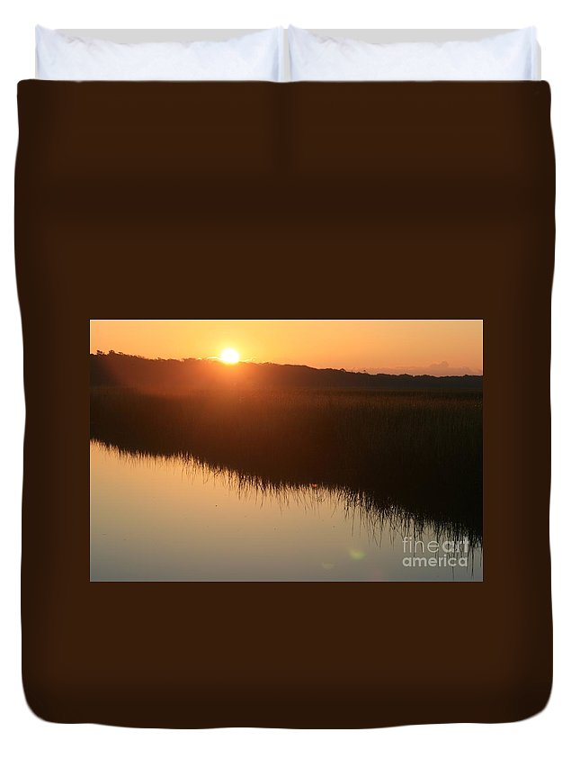 Sunrise Duvet Cover featuring the photograph Autumn Sunrise Over The Marsh by Nadine Rippelmeyer