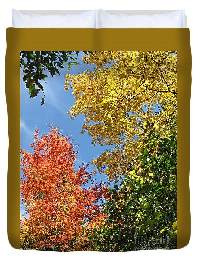 Autumn Duvet Cover featuring the photograph Autumn Treetops by Ann Horn