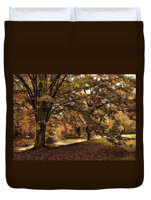 Autumn Duvet Cover featuring the photograph Autumn Umbrella by Jessica Jenney