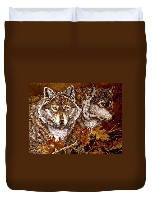 Wolves Duvet Cover featuring the painting Autumn Wolves by Sandy Williams