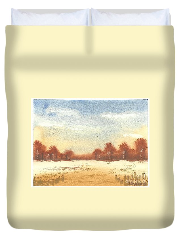 Autumn Woodlands Duvet Cover featuring the painting Autumn Woodlands by John Williams