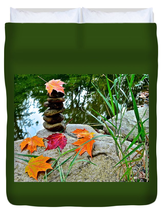 Autumn Duvet Cover featuring the photograph Autumn Zen by Frozen in Time Fine Art Photography