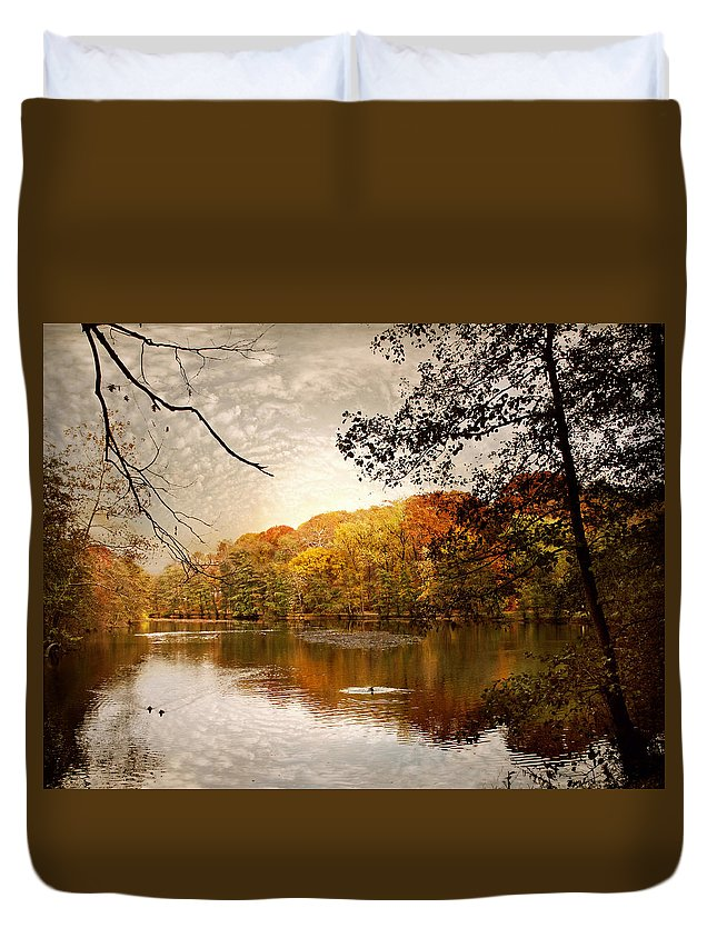 Landscape Duvet Cover featuring the photograph Autumn's Adieu by Jessica Jenney