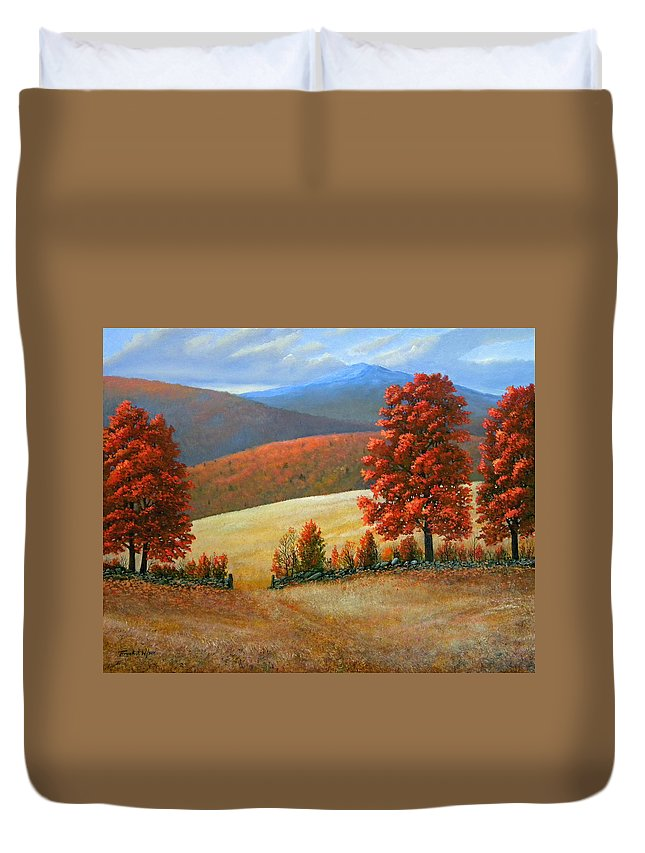 Landscape Duvet Cover featuring the painting Autumns Glory by Frank Wilson