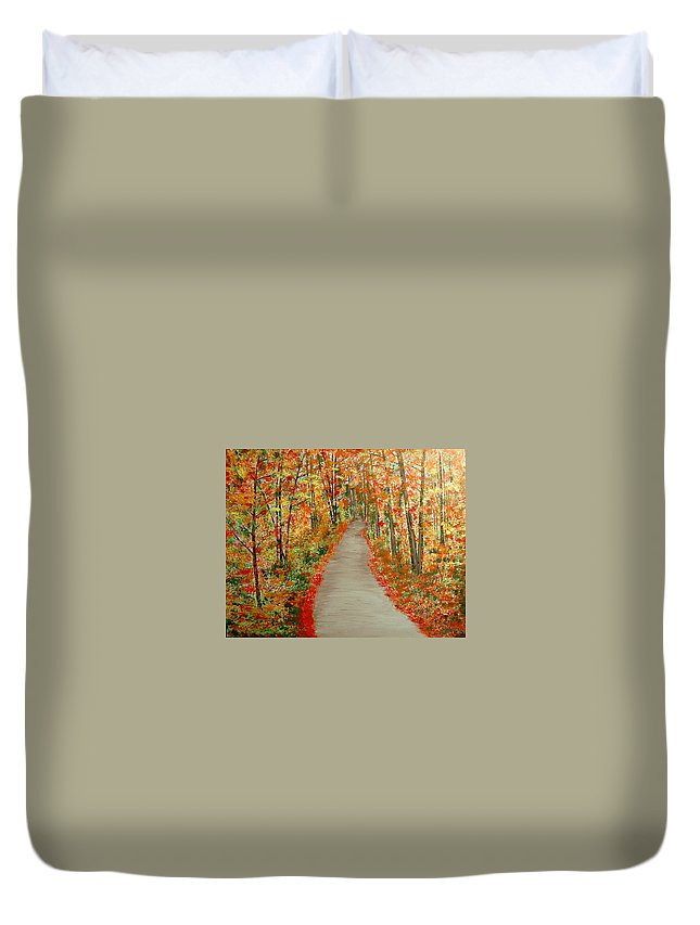 Landscape - Nature Duvet Cover featuring the painting Autumn's moment by Marco Morales