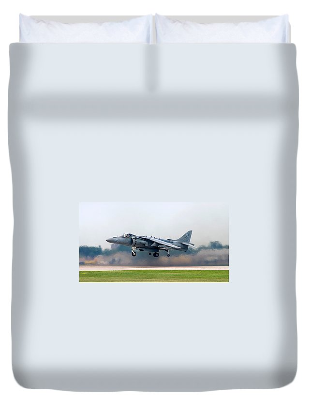 3scape Duvet Cover featuring the photograph Av-8b Harrier by Adam Romanowicz